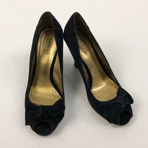 Guess Black Suede Peep Toe Wedges, 7.5